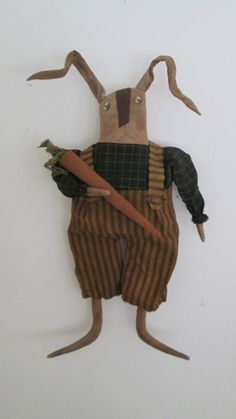 Primitive Rabbit with Carrot by Bettesbabies on Etsy, $38.00