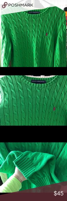 Ralph Lauren Knit Sweater L Beautiful classic RL sweater. Thick threaded but comfortable. Great condition! The shade of green is true to color on photos. Size L - no signs of wear and tear. Logo in hot pink. Ralph Lauren Sweaters Crew & Scoop Necks