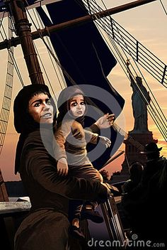 Sailboat with immigrants on board, arriving the US coast, approaching liberty island. Close view to a woman with her baby in her arms. The woman is happy, thinking on a new life in America, while the baby cries, as if he regretted something he left behind him.