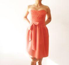 Coral Love - Bridesmaids dress, coral bridesmaid dress, salmon bridesmaid mini dress, strapless bridesmaids dress, cotton, chiffon and lace