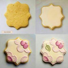 Farm Cookies, Iced Cookies, Cupcake Cookies, Cookies Et Biscuits, Royal Icing Cookies Recipe, Sugar Cookie Royal Icing, Flower Sugar Cookies, Brush Embroidery, Cookie Tutorials