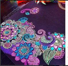 Art by Shantall Alam Gel Pen Art, Gel Pens, Aquarell Tattoo, Posca Art, Black Paper, Henna Art, Dot Painting, Mandala Design, Henna Designs