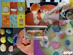 Crianças na cozinha! Fazendo biscoitos coloridos e divertidos!