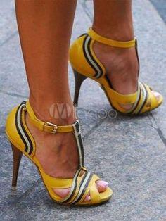 6f090b46c5f Yellow Sandal Shoes Peep Toe Stiletto Heel T Strap Color Block Women s  Sandals