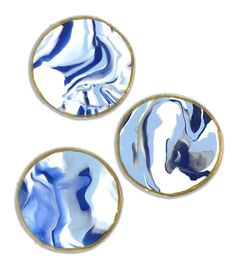 Three Blue and White Coasters by emitate on Etsy