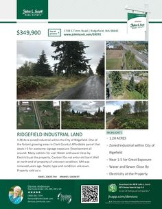 """NEW DRONE PHOTOS & VIDEO JUST ADDED! Property on left just past Parr Lumber. 1.28 Acre zoned Industrial in Ridgefield. One of the fastest growing areas in Clark County! Affordable parcel that abuts I-5 for awesome signage exposure. Development all around. Many options for use! Water & sewer close by. Elect at the property. Do not enter old barn! Well at north end of property. Sold """"as is"""". $349,900! RMLS 20025744. Contact: Denise Anderson (360) 281-7154, John L Scott. denisea@johnlscott.com."""