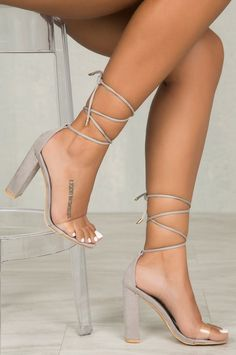 Naughty Lace-up Stiletto Heel (Gray) - High Heels Prom Heels, High Heels Stilettos, Stiletto Heels, Shoes Heels, Grey High Heels, Cute Shoes, Me Too Shoes, Lace Up Block Heel, Heels Outfits