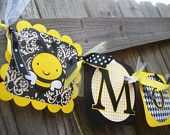 """Bumble Bee """"Mommy to Bee"""" (Yellow and Black) Baby Shower Banner"""