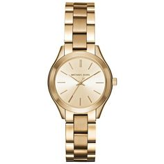 Michael Kors Mini Slim Runway Goldtone Three-Hand Watch ($205) ❤ liked on Polyvore featuring jewelry, watches, apparel & accessories, gold, dial watches, slim watches, michael kors jewelry, gold tone watches and michael kors