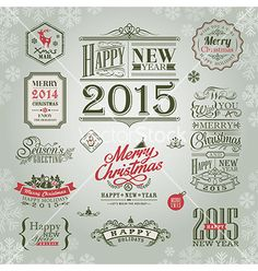 Set of christmas and new year design elements vector - by kraphix on VectorStock®