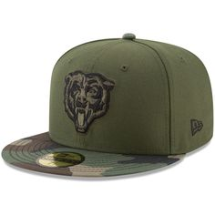 65ce0e77d2972 Men s Chicago Bears New Era Green Camo Woodland 59FIFTY Fitted Hat