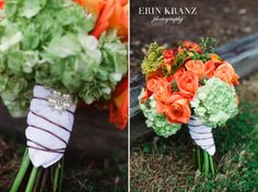 Pin something special on your wedding bouquet wrap - Erin Kranz Photography - Charlotte wedding photographer