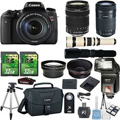 Canon EOS Digital Rebel T6s 24.2MP DSLR Camera with Canon 18-135mm STM Lens   Canon 55-250mm STM Lens   500mm Present Lens   2pc 32GB Memory Cards   Slave Flash   Card Reader Canon Case   50'' Tripod >>> Click image to review more details.