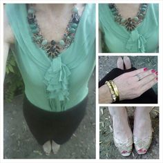 Mint green top, brown pencil skirt, snakeprint heels, summer outfit, work outfit
