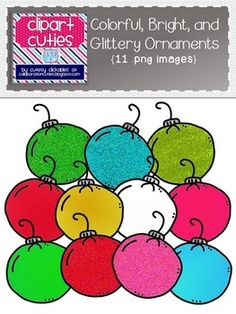 These cute Colorful, Bright, and Glittery Ornaments will add a fun touch to your holiday products!  {11 images included}All images are in .png format so they are easy to use in all of your creations! This set will download as a .zip file. After purchase, please unzip the file to access all of your .png graphics.