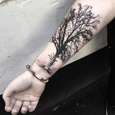 Black-And-Grey-Tree-Tattoo-On-Right-Forearm.jpg (1080×1080) #CoolTattooLife