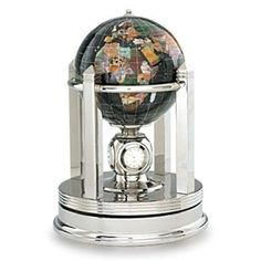 The Black Opalite Gemstone Globe 6-inch Galleon Rotating Silver Base is a great choice for a decorative globe featuring a unique rotating base. Manufactured with some of the best quality semi-precious gemstones you will not be disappointed by the layout and presentation of this design. #desktopglobes #floorglobes #oldworldglobes #antiqueglobes #education #geography #teaching #vintage #toys #6inchglobes