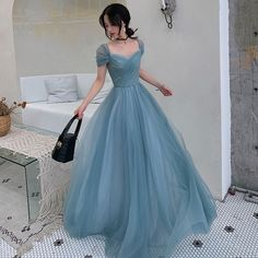 Chic / Beautiful Ocean Blue Evening Dresses 2019 A-Line / Princess Square Neckline Short Sleeve Floor-Length / Long Ruffle Backless Formal Dresses Blue Evening Dresses, Ball Dresses, 90s Prom Dresses, Blue Ball Gowns, Bridesmaid Dresses, Pretty Outfits, Pretty Dresses, Elegant Dresses, Vintage Dresses