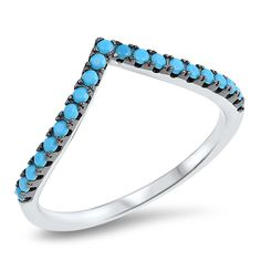 Size 8 Pave Set Genuine Reconstructed Turquoise Ring Sterling Silver.