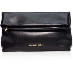 Michael Michael Kors Daria Fold Over Clutch (2 985 ZAR) ❤ liked on Polyvore featuring bags, handbags, clutches, black, black purse, michael michael kors, black handbags, fold over purse and foldover handbag
