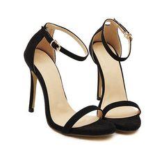 SheIn(sheinside) Black Stiletto High Heel Ankle Strap Sandals ($30) ❤ liked on Polyvore #sandalsheelsanklestrap