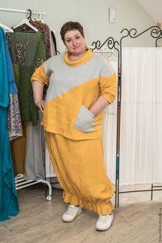 Купить Льняной костюм с юбкой бохо - желтый, костюм женский, льняной костюм, лен