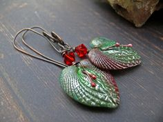 My Dark Heart - Ruby. Wearable art romantic ruby emerald polymer clay heart cockle shell with ruby crystal gothic earrings. by PreciousViolet on Etsy