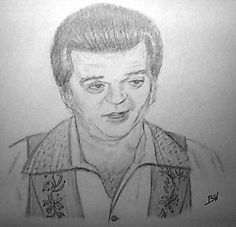 CONWAY TWITTY GRAPHITE PENCIL DRAWING HELLO DARLIN' COUNTRY MUSIC #Realism
