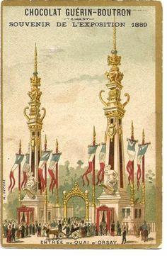 Chromo Chocolat Guerin Boutron Exposition 1889 Entree DU Quai D'Orsay