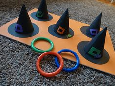 Witch's hat ring toss - and other fun ideas for a kid's Halloween party (would be great for classroom party ideas)