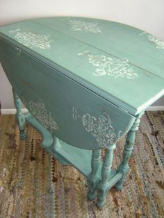 Antique Gate Leg Drop Leaf Table ~ Shabby ~ Painted ~ Stenciled ~ Sol…