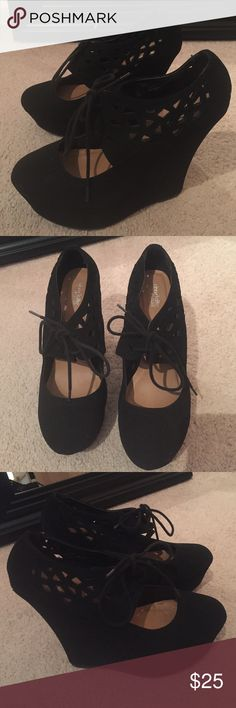 Black Wedges Comfortable high wedges with laces. Used. Charlotte Russe Shoes Wedges