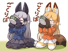 2girls animal_ears black_gloves black_skirt blonde_hair blue_jacket closed_eyes donbee_(food) drinking_from_bowl ezo_red_fox_(kemono_friends) food fox_ears fox_tail gloves gradient_hair gradient_legwear jacket kemono_friends kemonomimi_mode long_hair multicolored_hair multiple_girls orange_jacket pantyhose pleated_skirt product_placement seiza shoes silver_fox_(kemono_friends) silver_hair sitting skirt tail tanaka_kusao white_skirt