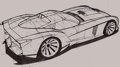 An incomplete drawing of a car (Dodge Viper?). You can see the lines that are used to aid where the wheels, windows, streamlines, etc. are placed.