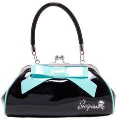 SOURPUSS FLOOZY PURSE BLACK W/ LIGHT BLUE BOW $44.0 #sourpuss #sourpussclothing #purse #handbag #pinup #retro #rockabilly