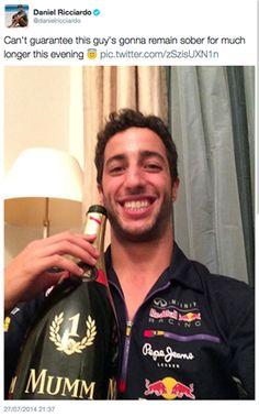 Ricciardo enjoying the fruits of his victory!