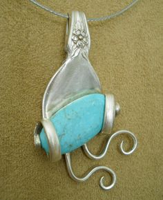 Very Unique Fork Pendant with Turquoise Stone by thefashionedge