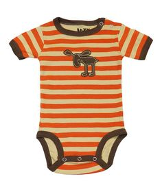 Take a look at this Orange Stripe Moose Bodysuit - Infant by Lazy One on #zulily today!