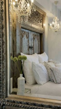 headboard in white bedroom French Country Bedrooms, French Country House, Country Style, Country Living, French Cottage, Country Homes, French Decor, French Country Decorating, Rustic French