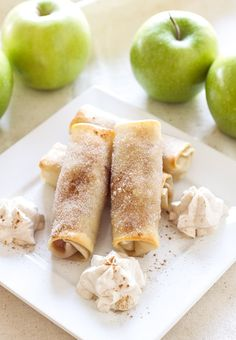 Baked Apple Pie Egg Rolls - cinnamon sugar and apple filling rolled up into one tasty treat! by @reciperunner