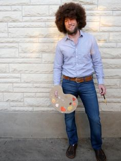 DIY Bob Ross adult Halloween costume. This. Is. Awesome.