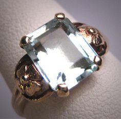 Antiguo anillo aguamarina Vintage Art Deco por AawsombleiJewelry