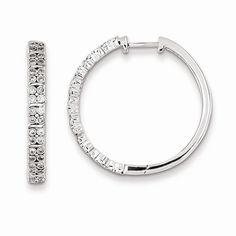 Sterling Silver Diamond Hinged Hooped Earrings Attributes Polished;Sterling silver;Diamond;Rhodium-plated;Hinged hoop Product Type:Jewelry Jewelry Type:Earrings Earring Type:Hinged / Huggie Material: