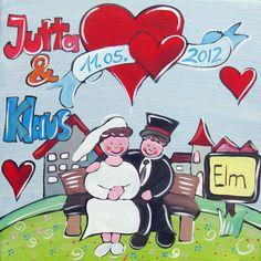 Ein schönes individuelles Geschenk für das Brautpaar.  Ein liebevoll handgemaltes Bild in Acryl auf Leinwand im Format 30 x 30 cm.  Die Namen des B...