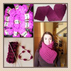 bufanda con lana de pompones