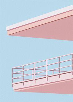Motel Balcony Print, Mid Century Poster, Pastel Art, Pink and B… Rose Pastel, Pastel Art, Pastel Home, Fotografia Vsco, Pastel Photography, Colourful Photography, Blue Aesthetic Pastel, Posca Art, Minimal Architecture