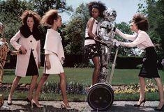 Vogue US September 2003 Editorial: The Total Lady Photographer: Steven Klein Fashion editor: Grace Coddington Models: Liya Kebede, Natalia Vodianova, Eugenia Volodina, Elise Crombez.
