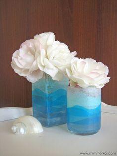 Tissue paper vases inspired by the ocean
