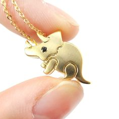 Cute Triceratops Dinosaur Shaped Jurassic World Themed Pendant Necklace in Gold