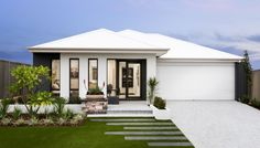 Modern elevation with contrasting rendered facade, stylish windows and Colorbond roof